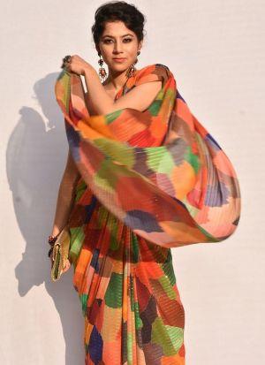 Sparkle Silk Multi Color Sequence Saree