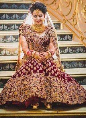 Sparkling Maroon Bridal Lehenga In Heavy Velvet