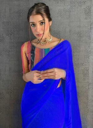 Sparkling Royal Blue Digital Print Saree