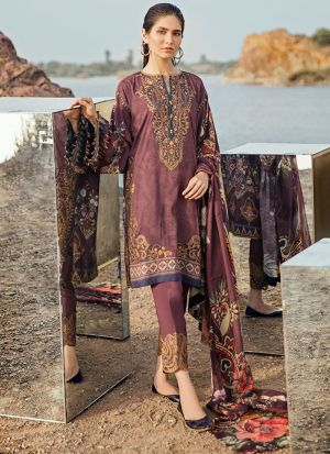 Splendid Dark Onion Satin Printed Salwar Suit