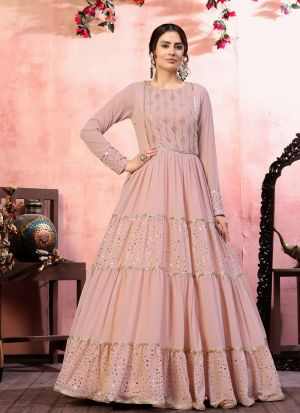 Splendid Dusty Pink Sequence Work Gown