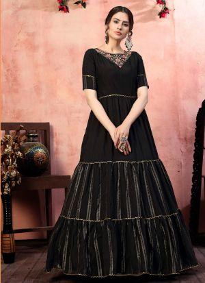 Staggering Black Silk Anarkali Gown