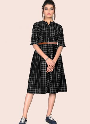Stunning Black Colour Flaired South Chex Cotton Western Dress