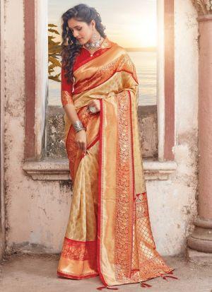 Stunning Cream Pure Soft Silk Saree