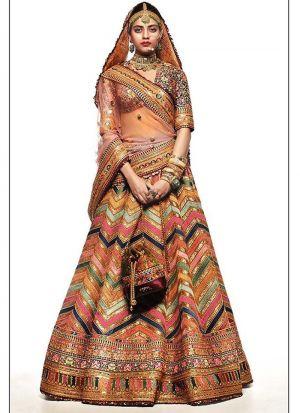 Stunning Gota Silk Digital Printed Multi Color Color Lehenga Choli