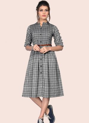 Stunning Grey Colour Flaired South Chex Cotton Western Dress