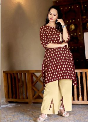 Stunning Maroon Party Wear Palazzo Suit