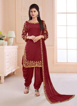 Stunning Mirror Work Silk Salwar Suit