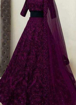 Stunning Purple Taffeta Silk Lehenga Choli