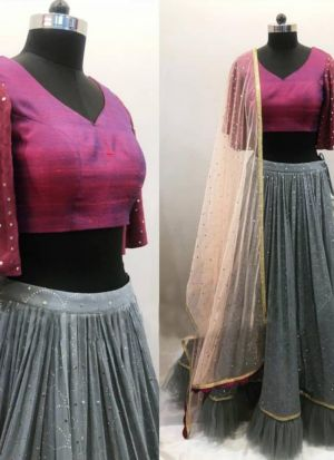 Stunning Steel Blue Hand Work Lehenga Choli With Contrasting Blouse