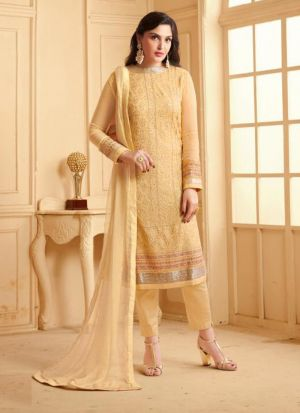 Stunning Stone Work Faux Georgette Yellow Salwar Suit