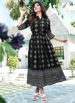 Stylish Black Foil Kurti With Dupatta