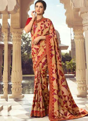 Stylish Cream Kanjivaram Silk Printed Saree