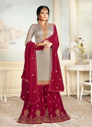 Stylish Embroidered Satin Georgette Salwar Suit