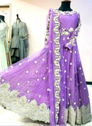 Stylish Lavender Naylon Mono Net Anarkali Gown