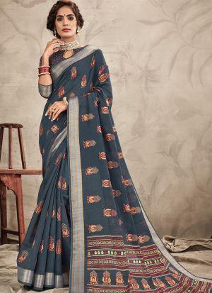 Stylish Look Chanderi Grey Indian Wear Saree