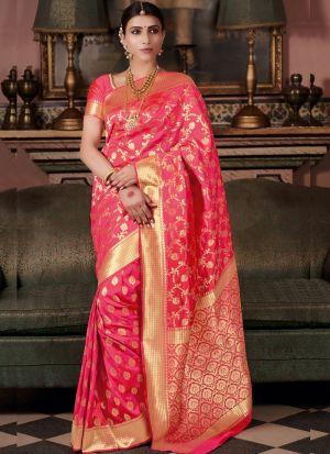 Stylish Look Pure Silk Pink Indian Wear Saree