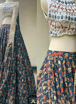 Stylish Multi Italian Silk Thread Embroidered Lehenga Choli
