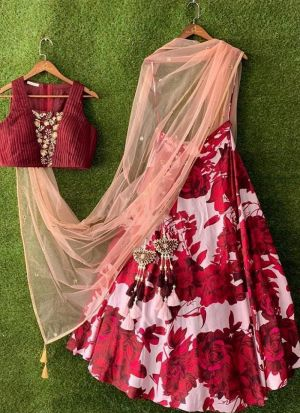 Stylish Red Digital Print Lehenga Choli With Contrast Dupatta