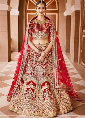 Stylish Red Velvet Bridal Lehenga