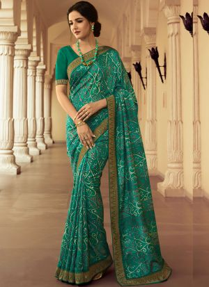 Stylish Turquoise Green Kanjivaram Silk Printed Saree