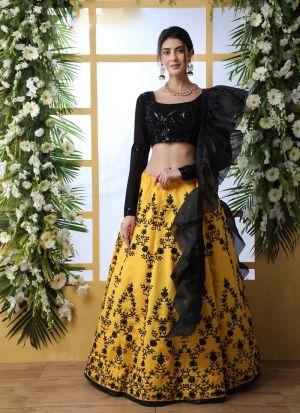 Stylish Yellow Embroidered Lehenga Choli
