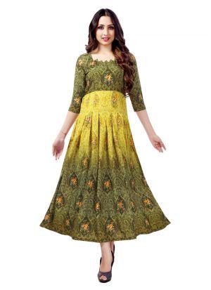 Stylish Womens Pure Heavy Rayon Green Kurti