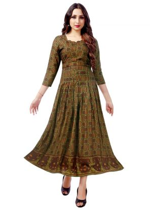 Stylish Womens Pure Heavy Rayon Mehendi Color Kurti