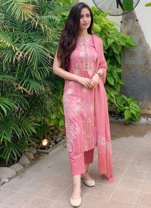 Superb Moti Work Pink Color Salwar Suit