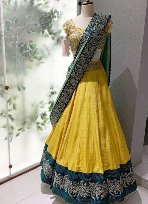Tafetta Silk Embroidered Festive Wear Yellow Lehenga Choli