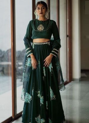 Taffeta Dark Green Tradtional Wear Lehenga