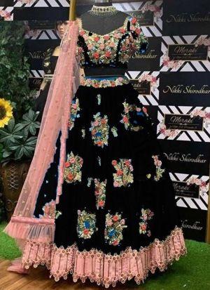 Taffeta Silk Embroidery Lehenga Choli In Black