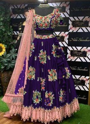 Taffeta Silk Embroidery Lehenga For Party