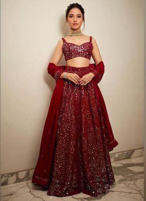 Tamannaah Bhatia Stylish Maroon Georgette Lehenga Choli