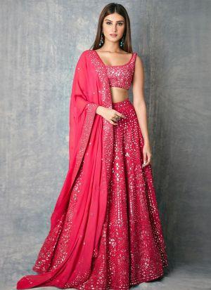 Tara Sutaria Pink Embroidered Festive Wear Lehenga Choli