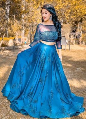 Teal Blue Zari Embroidered Bollywood Lehenga Choli