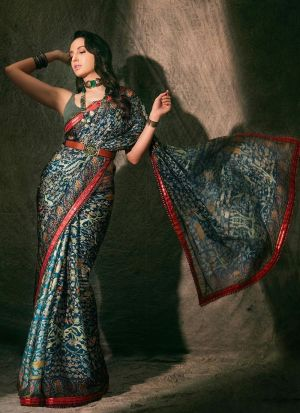 Teal Digital Printed Paper Silk Bollywood Style Saree