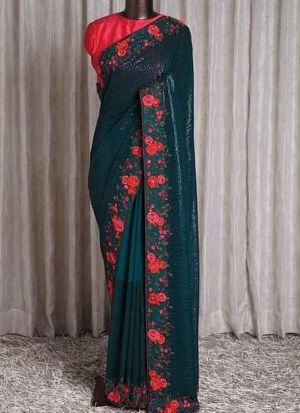 Teal Faux Georgette Sequence Saree