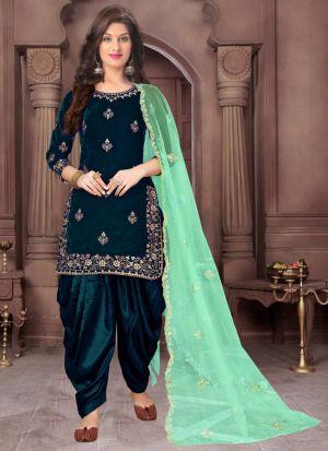 Teal Velvet Embroidered Wedding Wear Salwar Suit