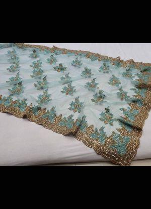 Teal Zari Embroidery Work Saree