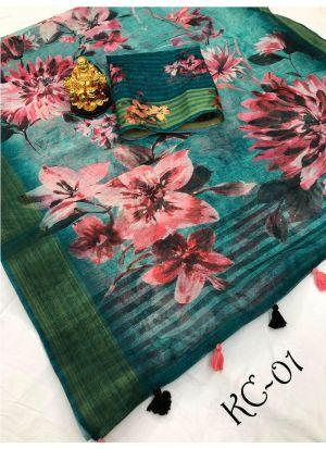 Teej Special Multi Color Linen Saree