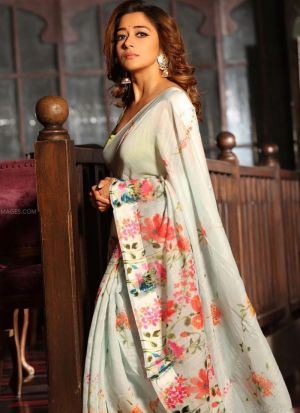 Tina Datta White Printed Saree