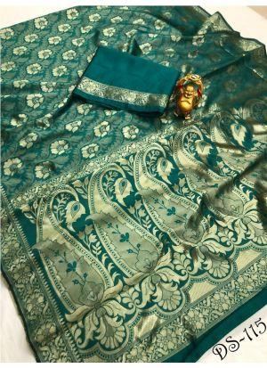 Traditional Dark Green Wedding Wear Banarasi