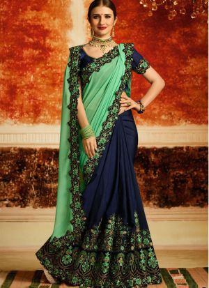 Traditional Green Half And Half Rangoli Silk Saree