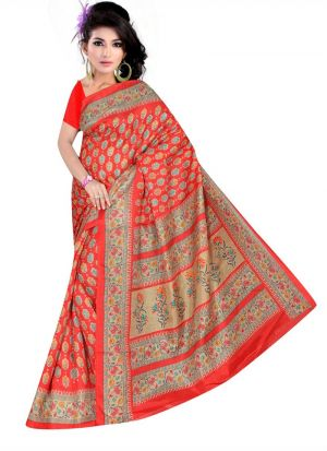 Traditional Multi Color Rice Silk Printed Saree