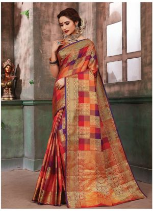 Traditional Multi Color Wedding Banarasi Pure Silk Saree