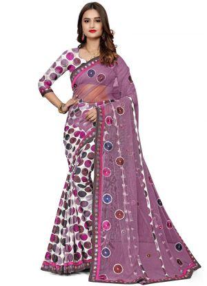 Traditional Multi Color Wedding Jacquard Net Saree