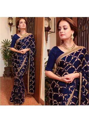 Traditional Navy Wedding Wear Vichitra Silk Saree With Blouse