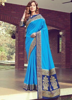 Traditional Sky Blue Pure Silk Saree