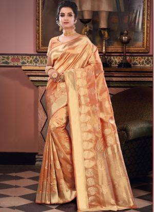 Traditional Wear Golden Zari Work Awesome Saree